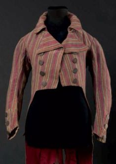 Frock coat, c. 1792. Pink, green, yellow and orange striped silk.