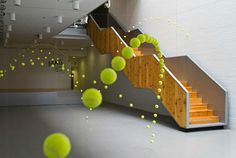 'Causa-Efecto (Cause & Effect),' by Spanish visual artist Ana Soler. suspended tennis balls appear to bounce through the Mustang Art Gallery, Alicante, Spain. via This is Colossal Art Gallery, Spanish Artists, Installation Art, Art Installations, Interactive Installation, Interactive Design, Sculpture Art, Wall Sculptures, Creative Design