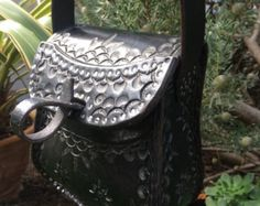 Purse  / Women / Custom /  leather / Black / Hand Tooled / Hand Made / Leather, Bag /  Cobbled / Woman Purse / Small / Hand Crafted / Girl