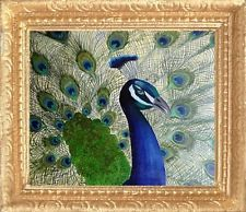 PEACOCK Dollhouse Picture - FRAMED Miniature Bird Art - MADE IN AMERICA