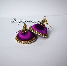 Silk thread earrings by Deepucreations on Etsy