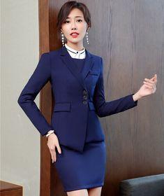 Azul marino profesional de las mujeres trajes chaquetas y abrigos con falda  para mujeres Oficina ropa d322841be322