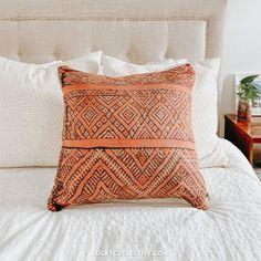 Kilim Pillow. Orange and Black. Boho Style Throw Pillow. - Lucky Collective #LuckyCollective
