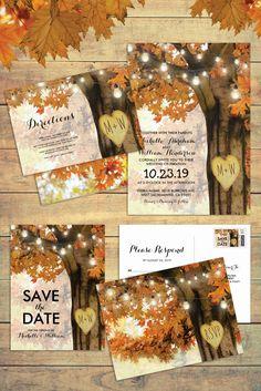 Rustic Fall Autumn Tree Twinkle Lights Matching Wedding Suite #rusticfallwedding