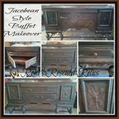 Jacobean style buffet / sideboard makeover...follow us on Facebook and you can see pics of entire transformations...search through our albums. https://www.facebook.com/RonisRescuedRelics https://www.facebook.com/RonisRescuedRelics