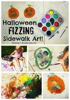 Halloween fizzing sidewalk art