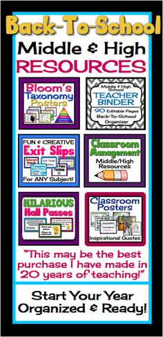 Start your year off organized and ready with this middle high back-to-school bundle of resources! (Teacher binder, exit passes, posters, hall passes, classroom management resources)