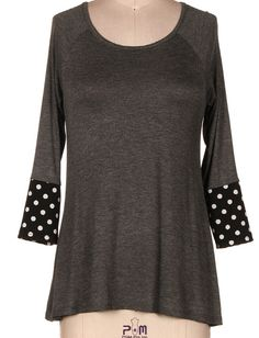 Crazy for Dots Top: Charcoal