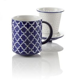 These stoneware infuser mugs represent Moroccan tile work. They come with an infuser and lid for easy steeping. The infuser has many tiny holes which allow for better brewing. The lid carries the same lovely pattern.