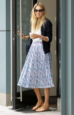 add a cardigan to summer staples like this midi skirt