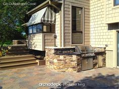 The beautiful granite countertop on this outdoor kitchen is a nice accent to the Cultured Stone walls and the Belgard Mega Arbel patio. Outdoor Kitchen Design, Outdoor Kitchens, Stone Walls, Outdoor Living, Outdoor Decor, Kitchen Photos, Concrete Countertops, Backyard Patio, Nice