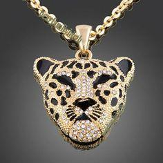 Sweater Chain Leopard 18K Gold GP Swarovski Crystal Fashion Tiger Necklace N34 | eBay