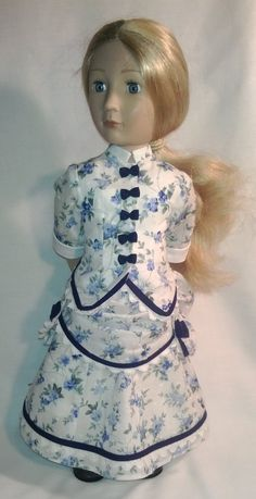 A Girl for all time hand made bustle dress by Gwendollys Bustle Skirt, Blue Bow, Cotton Lace, Fitted Bodice, Printed Cotton, American Girl, Pixie, All About Time, Floral Prints