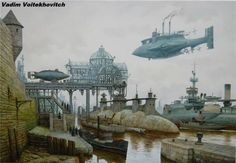 Horse Carriages and Dirigibles – Steampunk Paintings by Vadim Voitekhovitch - Pondly Diesel Punk, Steampunk Ship, Steampunk Kunst, Victorian London, Victorian Art, Concept Ships, Concept Art, Horse Carriage, Alternate History