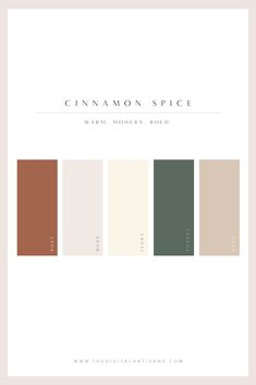 A modern color palette. Warm, Modern and bold. Inspired by cinnamon! #colorpalette #warm #modern