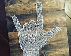"I Love You Sign Language String Art 22""x20"""