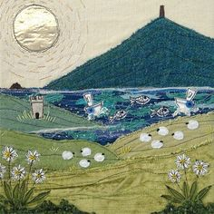 """Whoop! This piece has been accepted for the juried exhibition at Listowel Visual Arts Week in June! The exhibition theme is The Wild Atlantic Way and this piece is titled """"Arriving in Dingle"""" 😁 #textileart #dinglebay #lovelistowel #easktower #wildatlanticway"""