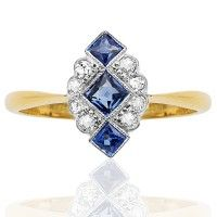 Divine Deco... Original Sapphire and Diamond ring. Just arrived... Art Deco rings for Christmas engagements. Shop online.  www.helenbadge.com