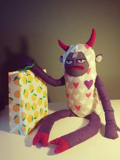 Good morning? Not such thing! The grumpy devil doesnt like sports, coffee or gifts and may not even like you. But still, isnt he charming?  This devil was made of cotton (hands, legs), flannel (body), felt (horns, hooves, parts of the face), stuffed with polyester and polypropylene (the whole pillow). There is a piece of paper between face and body.  This is a large stuffed animal: 100 cm / 39 - the whole plushie (from tip of the hooves to the top of the horns) about 49 cm / 19 - bo...