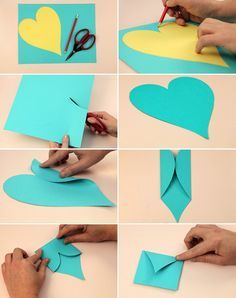 Valentine's Day crafts for kids easy ideas envelope fold heart shape