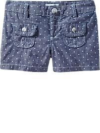 Girls Chambray Dot-Print Shorts