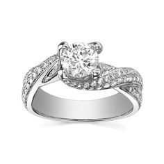 Engagement Ring with Side Stone 1/2 CT. T.W