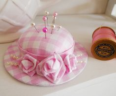 Handmade hat pincushion with folded roses (my_studio) Tags: hat rose beads pin handmade gingham cotton ribbon pincushion shape cushion padded Cd Crafts, Fabric Crafts, Sewing Crafts, Sewing Projects, Cd Recycling, Thread Catcher, Pink Gingham, Gingham Fabric, Pink White