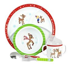 Rudolph 5 Piece Melamine Set - This adorable 50th Anniversary Rudolph 5-Piece Dinner Set has everything to make your child's meal time special and deliciously fun. The unique set features a bowl, sectioned plate, spill-proof cup, spoon and fork, all decorated with a variety of characters from Rudolph The Red Nose Reindeer!