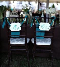 DIY Mr. & Mrs. chair banners + they are teal!