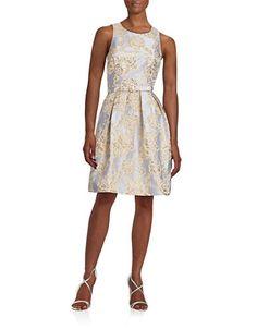 Women's | Dresses | Belted Metallic Jacquard Dress | Hudson's Bay