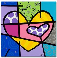"Trademark Fine Art 35 in. x 35 in. """"Big Heart IV"""" by Roberto Rafael Printed Canvas Wall Art, Multi Cute Canvas, Diy Canvas Art, Artist Canvas, Geometric Drawing, Posca, Abstract Print, Diy Art, Original Artwork, Minis"