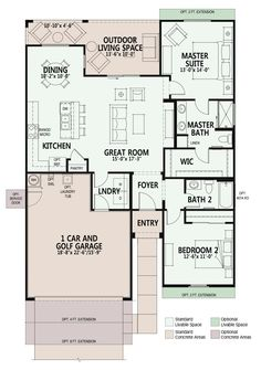 Great Plan 1404 Villa in Arizona Retirement community Best House Plans, Dream House Plans, Small House Plans, Cabin Floor Plans, Large Backyard, Bedroom House Plans, House Beds, Senior Living, Little Houses