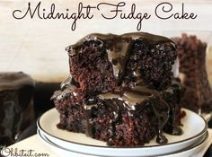 Midnight Fudge Cake | What can I say, I love Chocolate!  ~Give me dark, semi-sweet, milk, white, I don't care..just gimme!  I'll never turn it down, but…since this sinfully sweet, succulent concoction came into my life, I totally have a new favorite way to get my Chocolate on! | From: ohbiteit.com