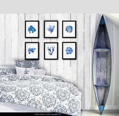 "Blue Seaweed Art Prints set of 6 prints bedroom bathroom beach cottage coastal decor wall hanging art prints 8x10"" GnosisPictureArchive"