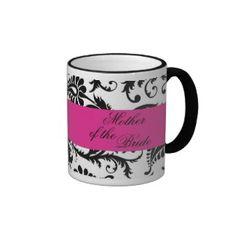 Black, White, Pink Damask Mother of the Bride Mug