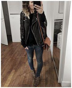 biker leather j&black&jeans&leopard print=<3