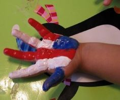 """Perfect handprint idea for """"the fourth"""". Either of July or the 4th Birthday party!"""