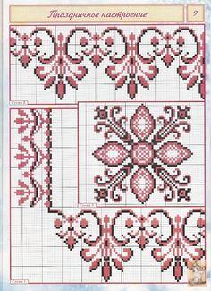 <3 Cross Stitch Borders, Cross Stitch Flowers, Cross Stitch Designs, Cross Stitching, Cross Stitch Embroidery, Cross Stitch Patterns, Towel Embroidery, Embroidery Patterns, Cross Stitch Cushion