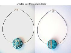 Double sided dome pendant - polymer clay - fun to wear in the sun!!
