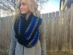 Crochet Thin Blue Line Infinity Scarf, Blue Lives Matter, Crochet Scarf, Law Enforcement, Back the Blue, Thin Blue Line Scarf, Police Wife by HudsonHouseCo on Etsy https://www.etsy.com/listing/502245337/crochet-thin-blue-line-infinity-scarf