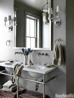 Small Bathroom Design Ideas - Small Bathroom Solutions - House Beautiful  ... kinda likin these sinks...