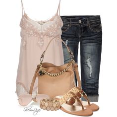 A fashion look from May 2014 featuring pink camisole, Almost Famous and braided sandals. Browse and shop related looks. Capri Outfits, Summer Outfits, Cute Outfits, Fashion Outfits, Womens Fashion, Fashion Trends, Look Chic, Spring Summer Fashion, Braided Sandals