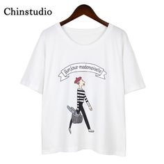 e19060e507d042 Chinstudio Round Neck Ladies White Linen Cotton Short Sleeved T-shirt  Female Preppy Style 2018 Women Tshirt Tops Fashion