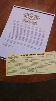 Vault tech admission ticket - could be used for reception; create a spot to tear off or stamp and guest keeps the remainder