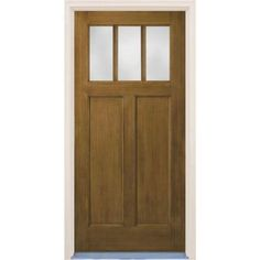 Builder's Choice Craftsman 2-Panel 3 Lite Stained Fiberglass Dark Walnut Entry Door with Brickmould-HDX161531 at The Home Depot