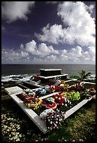 Tombs near the ocean in Vailoa. Tutuila, American Samoa. we bury our loved ones in our yards