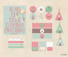 Indian Birthday Printable. Customize Printable. Imprimibles Fiesta India Personalizables