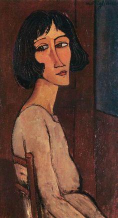 Amedeo Modigliani, Jeune femme assise (Marguerite), 1916. Amedeo Modigliani, Modigliani Paintings, Paul Cezanne, Italian Painters, Italian Artist, Ouvrages D'art, Claude Monet, Poster Prints, Art Prints