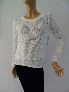 White, light and airy, boucle knit top. Nice side details - 2 zippers. Easy to mix and match with denim jeans or a colorful skirt.   eBay!