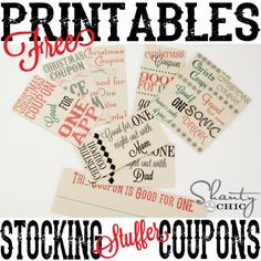 Printable ~ Stocking Stuffer Coupons Free Printable Stocking Stuffer Coupons- I'm thinking these might be good for Christmas advent fillersFree Printable Stocking Stuffer Coupons- I'm thinking these might be good for Christmas advent fillers Little Christmas, Christmas And New Year, Winter Christmas, Winter Holidays, All Things Christmas, Holidays And Events, Christmas Holidays, Christmas Ideas, Merry Christmas